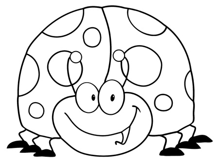 ladybird: Outlined LadyBird Cartoon Character  Illustration