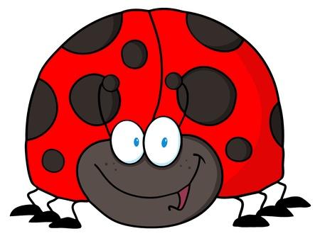 crawling creature: Happy LadyBird Cartoon Character
