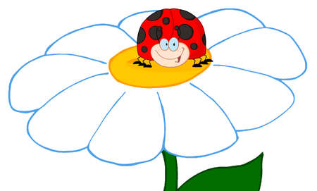LadyBird Cartoon Character Over Flower