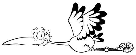 Outlined Stork Mascot Cartoon Character  Vector