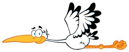 Stork Mascot Cartoon Character