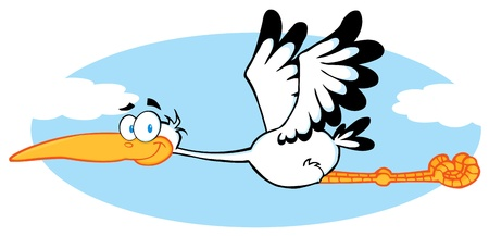 migrating: Stork Flying In The Sky  Illustration
