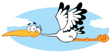 Stork vliegen In de lucht  Stock Illustratie