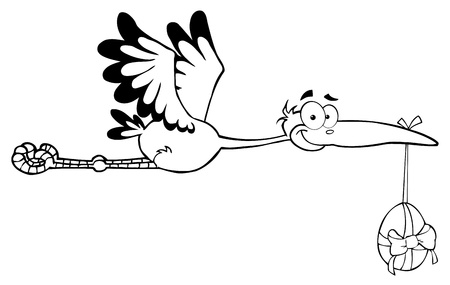 Outlined Stork Flying With Easter Egg