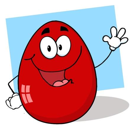 Easter Egg Mascot Cartoon Character Waving A Greeting  Vector