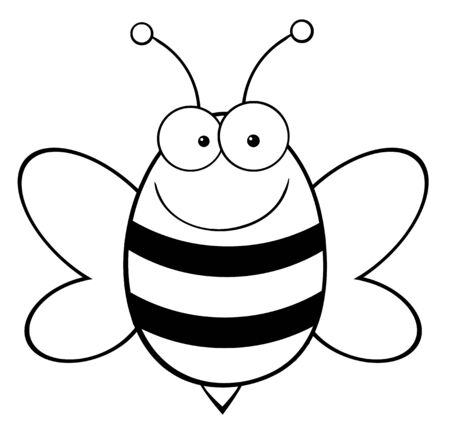 Outlined Bee Mascot Cartoon Character  Vector
