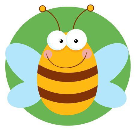 Happy Bee Cartoon Character  Illustration