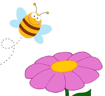 Bee Cartoon Character Flying Over Flower