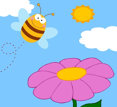 bumble bee: Bee Cartoon Character Flying Over Flower Raster Illustration