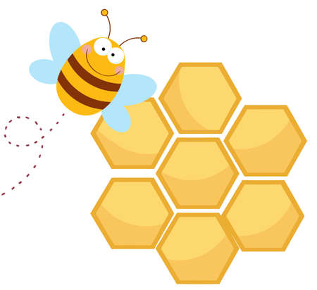 Bee Cartoon Character Flying In Front Of A Orange Bee Hives  Vector