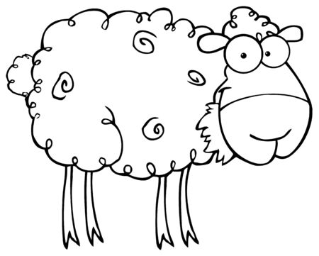 sheep cartoon: Outlined Sheep Cartoon Character Eating A Grass
