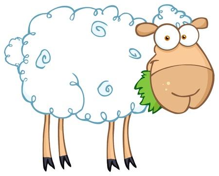 White Sheep Cartoon Character Eating A Grass
