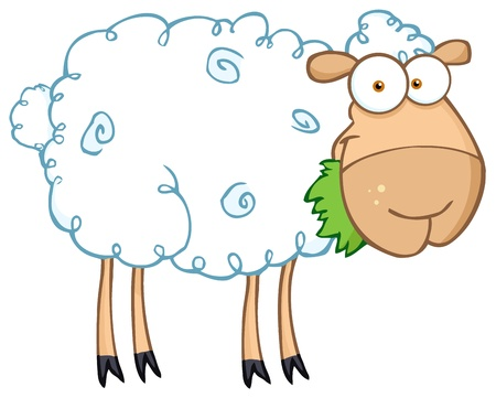 sheep cartoon: White Sheep Cartoon Character Eating A Grass