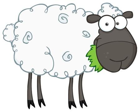 Black Sheep Cartoon Character Eating A Grass  Ilustração