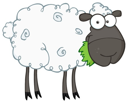 cartoon sheep: Black Sheep Cartoon Character Eating A Grass  Illustration