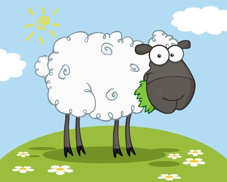 Black Sheep Cartoon Character Eating A Grass On A Hill