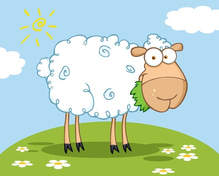 White Sheep Cartoon Character Eating A Grass On A Hill
