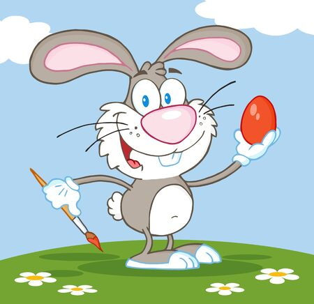 Happy Gray Rabbit Painting Easter Egg   Vector