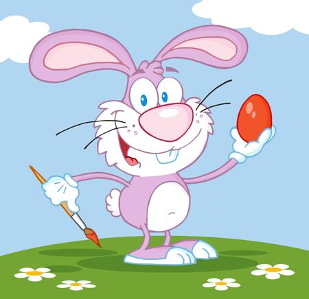 pink rabbit: Happy Pink Rabbit Painting Easter Egg