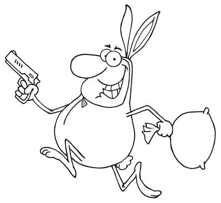Outlined Happy Bandit Running With Easter Rabbit Costume  Vector