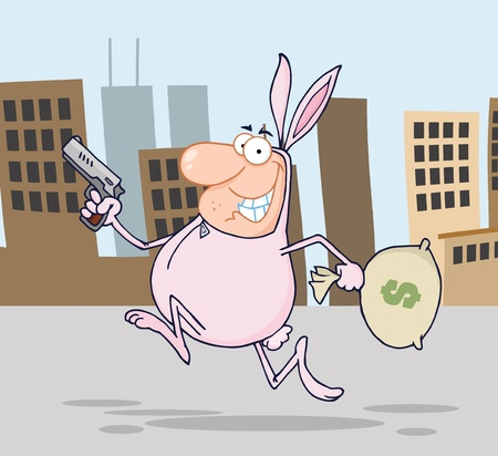 Happy Bandit Running With Easter Rabbit Costume In City  Vector