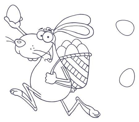 Geschetst Gelukkig Pasen-Konijn die met een Mand en een Ei lopen