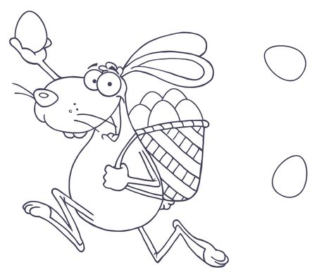 Outlined Happy Easter Rabbit Running With A Basket And Egg