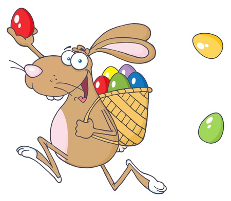 Happy Easter Rabbit Running With A Basket And Egg  Vector