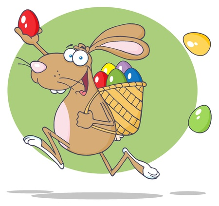 Happy Brown Easter Rabbit Running With A Basket And Egg Vector
