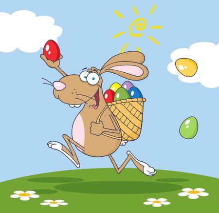 バスケットと卵のバック グラウンドで実行されている幸せな茶色イースターのウサギ