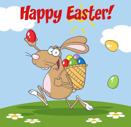 Happy Easter Greeting From Rabbit Running With A Basket And Egg