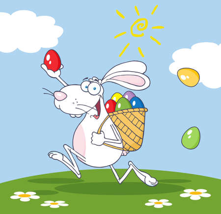 White Easter Cartoon Rabbit Running With A Basket And Egg  Vector