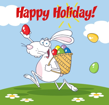 Happy Holiday From White Easter Rabbit Running With A Basket And Egg  Vector