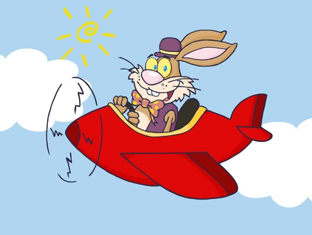 Easter Rabbit Flying With Plane In Sky  Vector