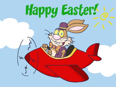 Happy Easter Greeting From Rabbit Flying With Plane  Ilustrace