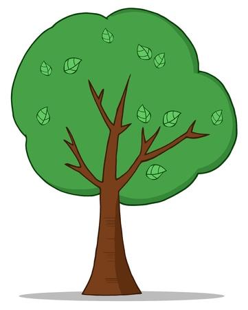Árbol de dibujos animados verde Foto de archivo - 9398451
