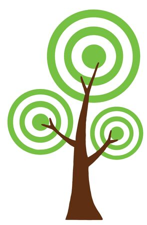Abstract Green Tree With Three Crowns  Vector