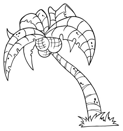 Outlined Cartoon Palm Three