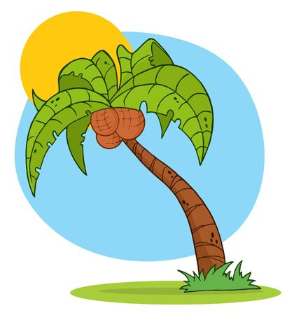 Cartoon Palm Three With Background  Vector