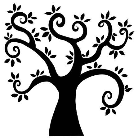 黒の漫画の木のシルエット  イラスト・ベクター素材