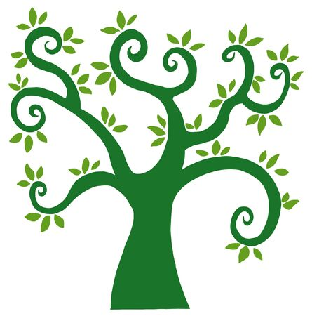 Green Cartoon Tree Silhouette  Vector