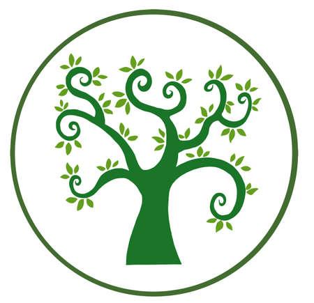 Green Tree Banner In White Stock Vector - 9398455