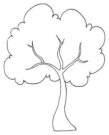 Outlined Cartoon Tree Illustration