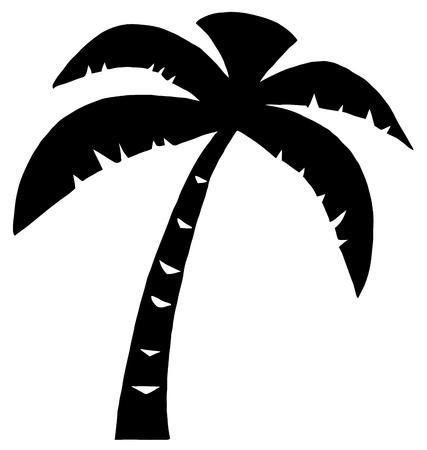 arboles de caricatura: Silueta de Palm tres negro