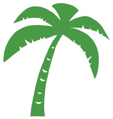 Groene silhouet van Palm drie  Stock Illustratie