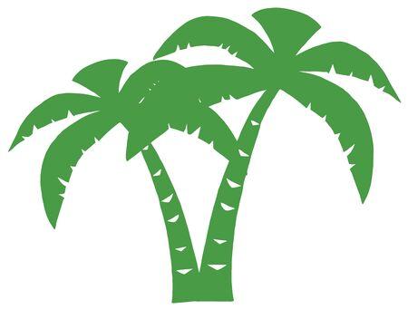 Groene Palms drie silhouet Stock Illustratie