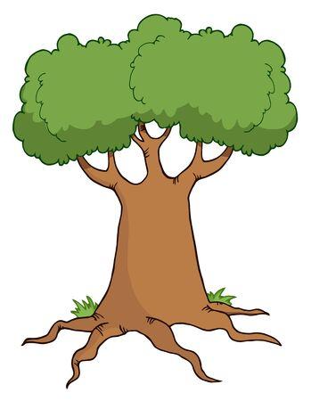 Big Cartoon Tree  Vector