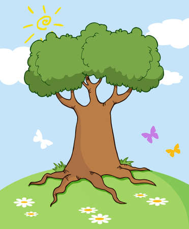 Cartoon Landscape With Tree And Butterfly
