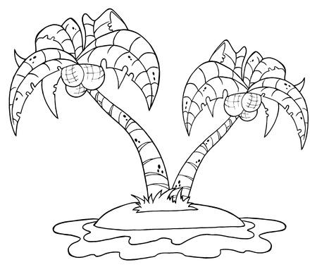 palmtrees: Describe la isla de dibujos animados con dos palmera