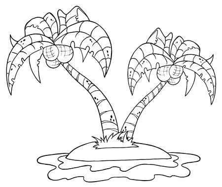romantic getaway: Outlined Cartoon Island With Two Palm Tree  Illustration